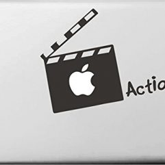 Sticker noir « action » clap de cinema Macbook 13, 15 et 17″