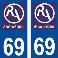 2 autocollants pour plaque d'immatriculation département 69 Rhône …