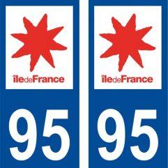 2 autocollants pour plaque d'immatriculation département 95 Val d'Oise