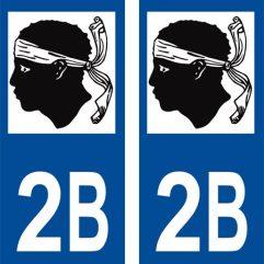 2 autocollants pour plaque d'immatriculation département 2B Haute Corse