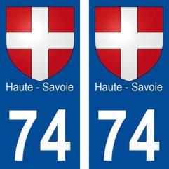 2 autocollants pour plaque d'immatriculation département 74 Haute Savoie