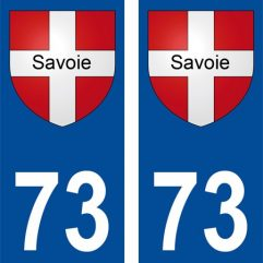 2 autocollants pour plaque d'immatriculation département 73 Savoie