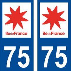 2 autocollants pour plaque d'immatriculation département 75 Paris