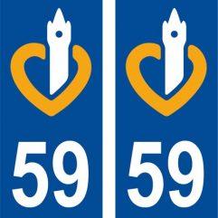 2 autocollants pour plaque d'immatriculation département 59 Nord
