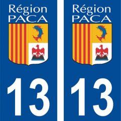 2 autocollants pour plaque d'immatriculation département 13 Bouches du Rhône