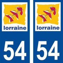 2 autocollants pour plaque d'immatriculation département 54 Meurthe et Moselle