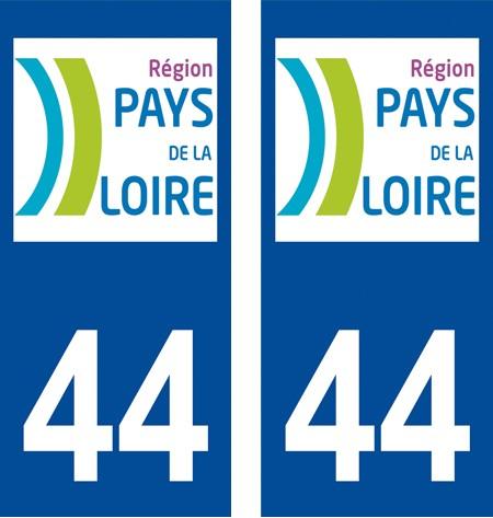 2 autocollants pour plaque d'immatriculation département 44 Loire Atlantique