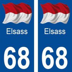 2 autocollants pour plaque d'immatriculation département 68 Haut Rhin Elsass