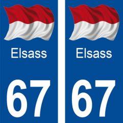 2 autocollants pour plaque d'immatriculation département 67 Bas Rhin Elsass