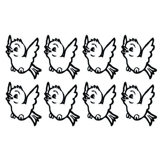 8 stickers oisillons, couleur noir