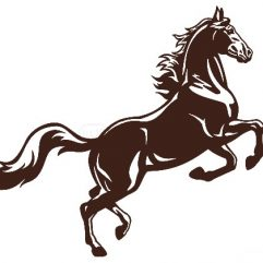 Cheval adhésif 13 x 12cm marron ou noir
