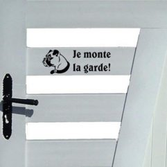 Sticker noir chien « Je monte la garde! »