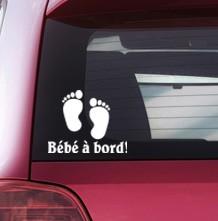 Sticker « Bébé à bord! » avec pieds dessus