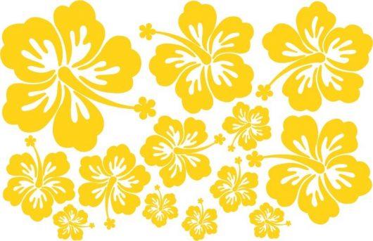 Lot de 13 stickers Hibiscus, couleur au choix