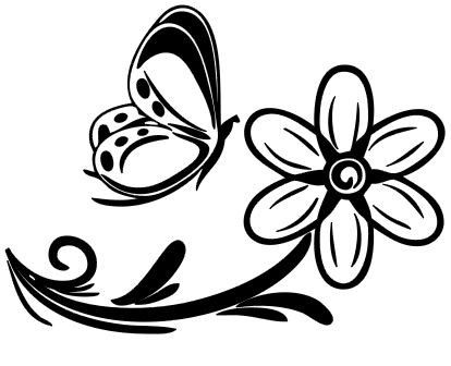 Fleur avec papillon couleur au choix