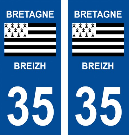2 autocollants pour plaque d'immatriculation département 35 Ille-et-Vilaine …