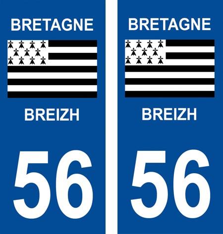 2 autocollants pour plaque d'immatriculation département 56 Morbihan