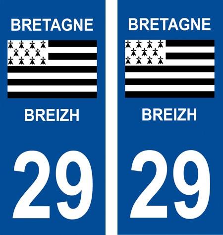2 autocollants pour plaque d'immatriculation département 29 Finistère