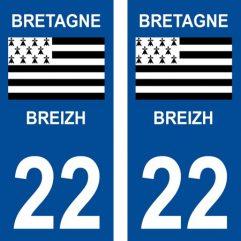 2 autocollants pour plaque d'immatriculation département 22 Côtes-d'Armor
