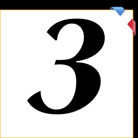 Numéro 3 en vinyle adhésif noir 10 cm
