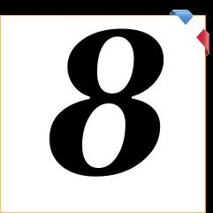 Numéro 8 en vinyle adhésif noir 10 cm
