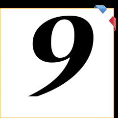 Numéro 9 en vinyle adhésif noir 10 cm