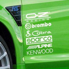 Lot de 2 planches de 6 stickers logos d'equipementiers auto
