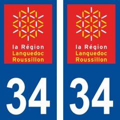 2 autocollants pour plaque d'immatriculation département 34 Hérault