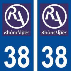 2 autocollants pour plaque d'immatriculation département 38 Isère
