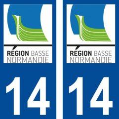 2 autocollants pour plaque d'immatriculation département 14 Calvados