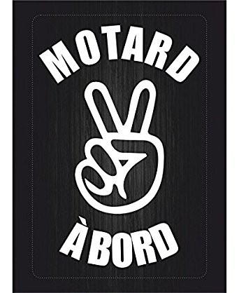 Sticker « Motard à bord! » 2 doigts couleur au choix