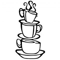 Sticker tasses de café empilées 38 x 21 cm