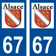 2 autocollants pour plaque d'immatriculation département 67 Bas Rhin Blason