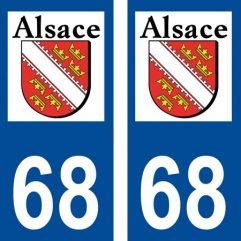 2 autocollants pour plaque d'immatriculation département 68 Haut Rhin Blason