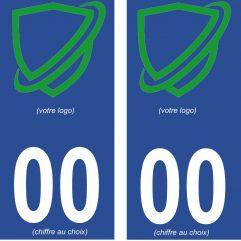 2 autocollants personnalisés pour plaque d'immatriculation