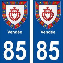 2 autocollants pour plaque d'immatriculation département 85 Vendée