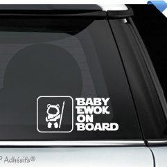 Autocollant détouré blanc «BABY EWOK ON BOARD»